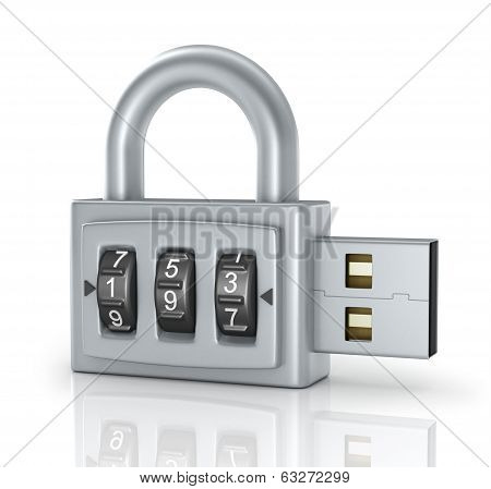 USB flash drive with combination lock, isolated on white. 3D