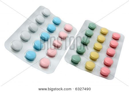 Two Blisters With The Colored Pills