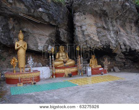 Three Different Statues Of Buddha