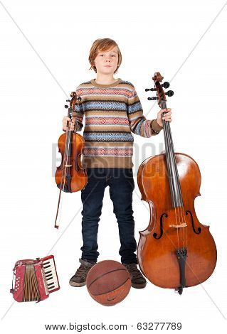 boy with music instruments and basketball