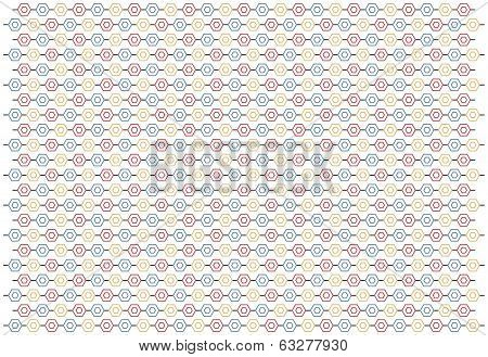 Pattern With Pentagons In Red, Gray And Gold Color