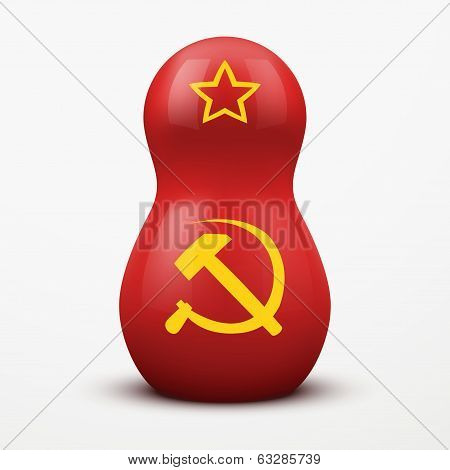 Russian tradition matrioshka dolls in USSR flag style.