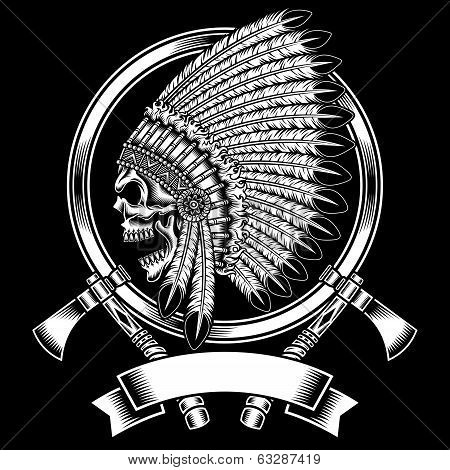 Native American Indian Chief Skull With Tomahawk