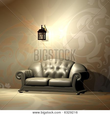 An interior of a room with a beautiful burgundy and gold sofa.