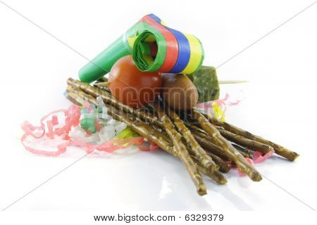 Pretzels With Party Blower And Cocktail Stick