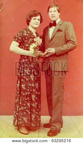 LODZ, POLAND, CIRCA 1970's: Vintage photo of newlyweds