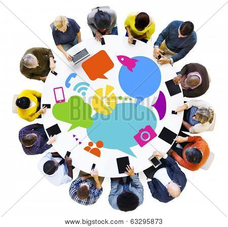 Multiethnic People Discussing Social Media with Digital Devices