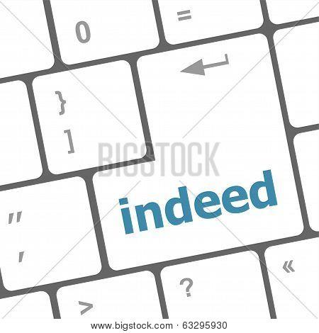 Indeed Word On Computer Pc Keyboard Key