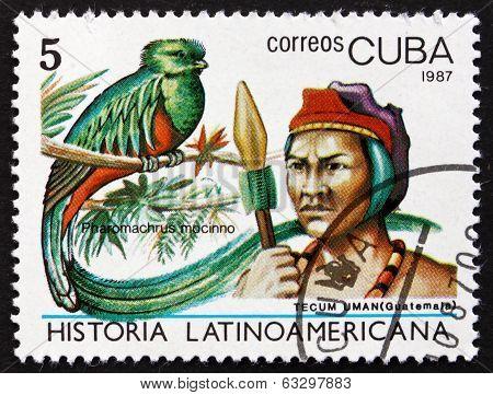 Postage Stamp Cuba 1987 Quetzal And Tecum Uman Indian