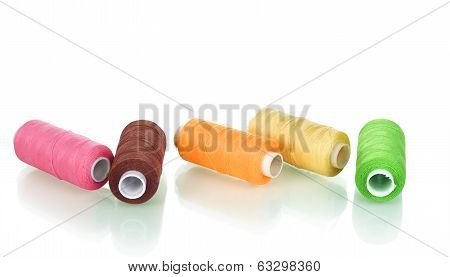 bright bobbin thread isolated on the white poster