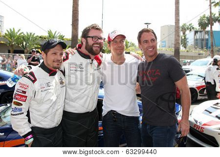 LOS ANGELES - APR 12: Nick Wechsler, Rutledge Wood, Michael Trucco, Mark Steines at the Long Beach Grand Prix Pro/Celeb Race at Long Beach Grand Prix Race Circuit on April 12, 2014 in Long Beach, CA