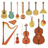Set of various string musical instruments in the flat style poster