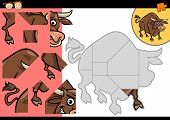 Cartoon Illustration of Education Jigsaw Puzzle Game for Preschool Children with Funny Bull Animal Character poster