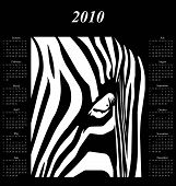 2010 calendar with abstract zebra stripes on black background poster