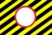 Red white circle on yellow and black hazard stripes backgroundRed white circle on old grungy yellow and black hazard stripes background poster
