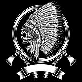 fully editable vector illustration (editable EPS) of native american indian chief skull with tomahawk isolated on black background, image suitable for crest, emblem, insignia, t-shirt design or tattoo poster
