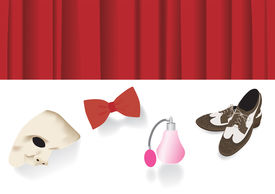 Old Fashion Shoes, Perfume, Bow Tie And Phantome Mask In Front Of Stage Curtain