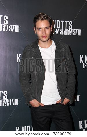 LOS ANGELES - OCT 3:  Dominic Sherwood at the Knott's Scary Farm Celebrity VIP Opening  at Knott's Berry Farm on October 3, 2014 in Buena Park, CA