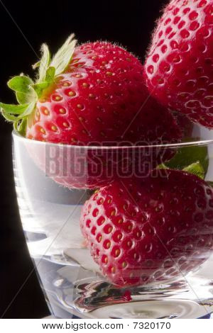 Strawberries Close In Glass