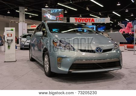 2015 Toyota Prius Hybrid Plugged In For Electricity At The Orange County International Auto Show
