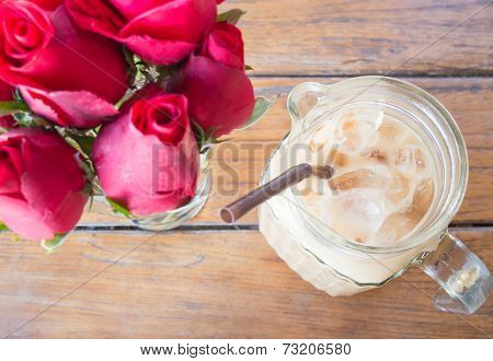Romantic Decoration Table With Iced Coffee Latte And Red Rose