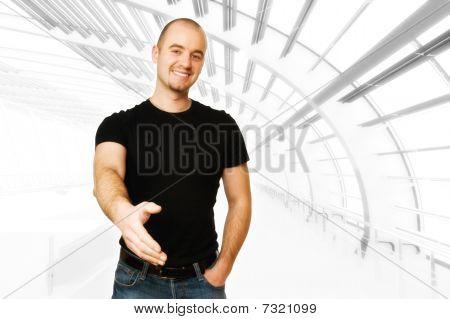 lächelnd mann Angebot hand