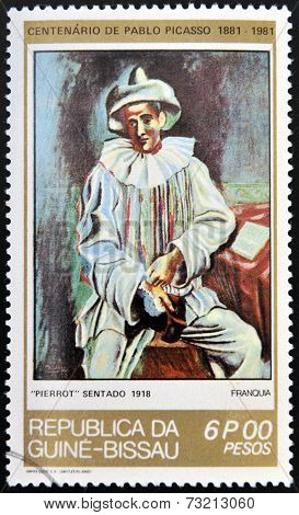GUINEA - CIRCA 1981: A stamp printed in Republic of Guinea Bissau shows Pierrot Sitting