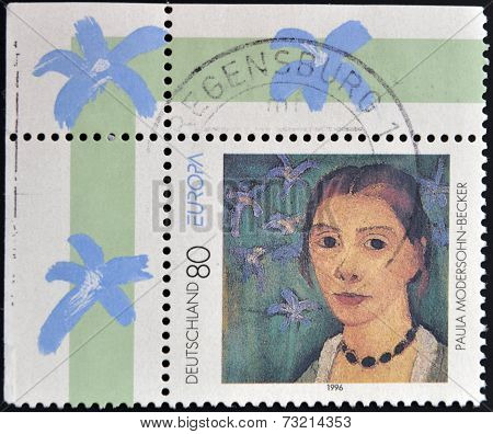 GERMANY - CIRCA 1996: A stamp printed in Germany shows Paula Modersohn-Becker Painter circa 1996