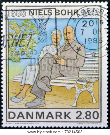 DENMARK - CIRCA 1985: A stamp printed in Denmark shows Birth Centenary of Niels Bohr