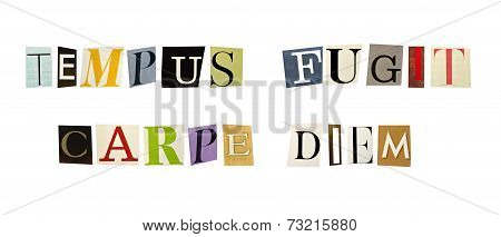 The phrase Tempus Fugit Carpe Diem formed with magazine letters on white background
