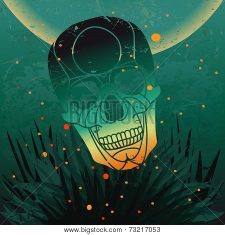 Vector halloween skull background.