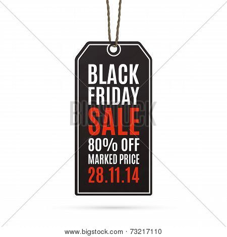 Black friday sale realistic paper price tag