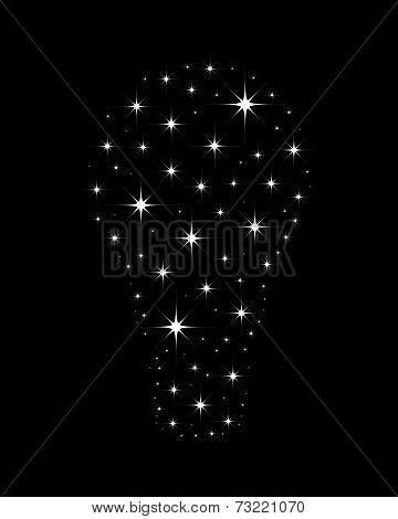 Shining stars in a shape of Light bulb