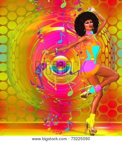 Retro Disco Dancer, Colorful Background