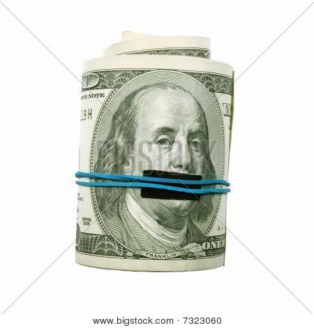 Shut Up! Benjamin Franklin Mouth Covered