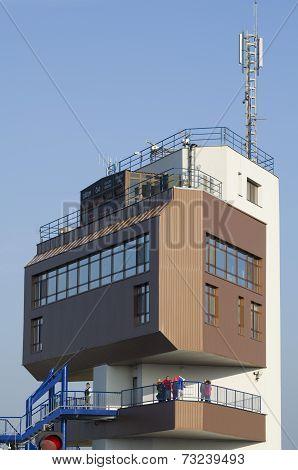 Gabcikovo, Slovakia - November 01, 2013: Close-up Of The Control Tower Of The Gabcikovo Dams