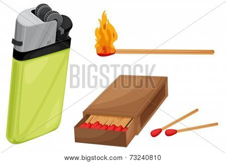Illustration of matches and lighter
