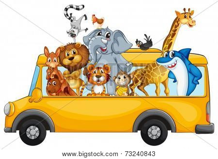 Illustration of many animals riding on a bus