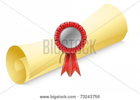 Illustration of a rolled paper with a red ribbon on a white background