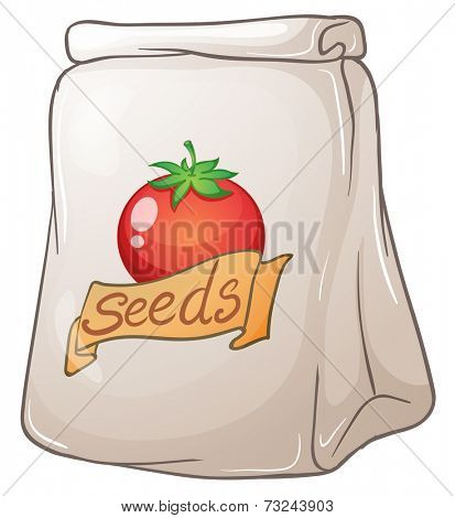 Illustration of a pouch of tomato seeds on a white background