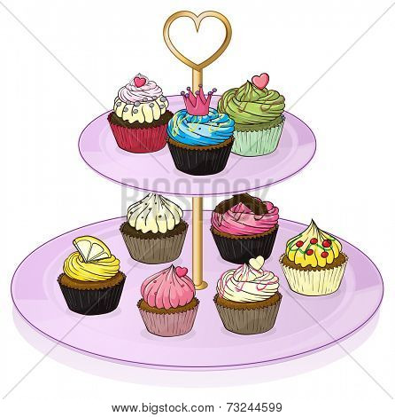 Illustration of the cupcakes in the cupcake tray on a white background poster