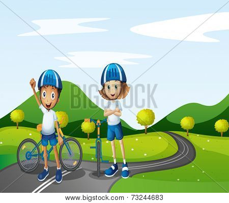 Illustration of a boy and a girl biking
