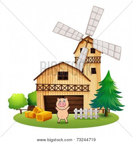 Illustration of a playful pig outside the wooden barnhouse with a windmill on a white background