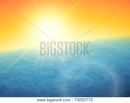 Sunset at sea, horizon with summer sun, blue ocean and clear orange sky, vector background illustration poster