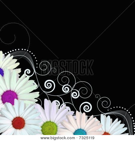colourful flowers border vector