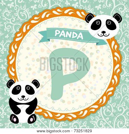 ABC animals P is panda. Childrens english alphabet. Vector poster