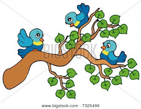 Three small birds sitting on branch - vector illustration. poster