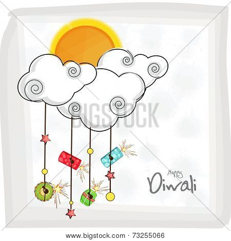 Hanging fire crackers and stars on cloud shape with a sun and stylish text of Diwali for Diwali celebration on stylish background.