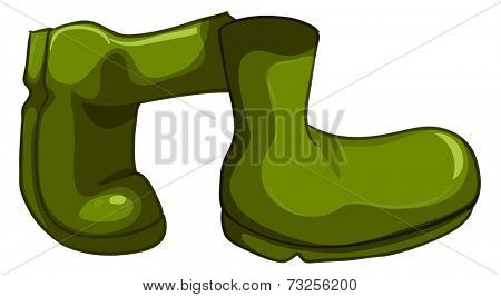 Illustration of a pair of green shoes on a white background