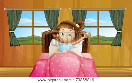 Illustration of a girl waking up in bed